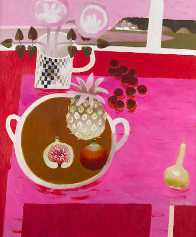Mary Fedden R.A. (British, born 1915) Still life with a pineapple and figs 91.5 x 77 cm. (36 x 30 1/4 in.)
