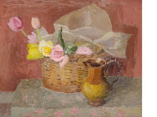 Mary  Potter (British, 1900-1981) Still life roses in a bowl
