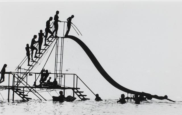 János Szász (Hungarian, 1925-2005) Slide/ Csúszda, 1959 14.7 x 23.5cm (5 13/16 x 9 1/4in).