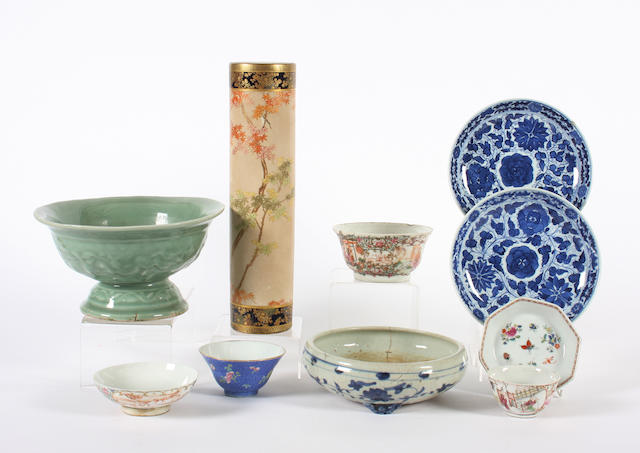 A small group of Chinese ceramics and a Japanese satsuma vase