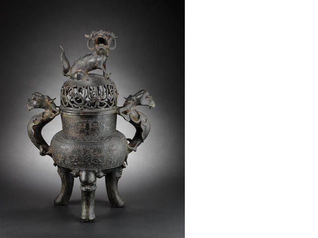 A large tripod bronze censer with pierced cover Ming/Qing Dynasty