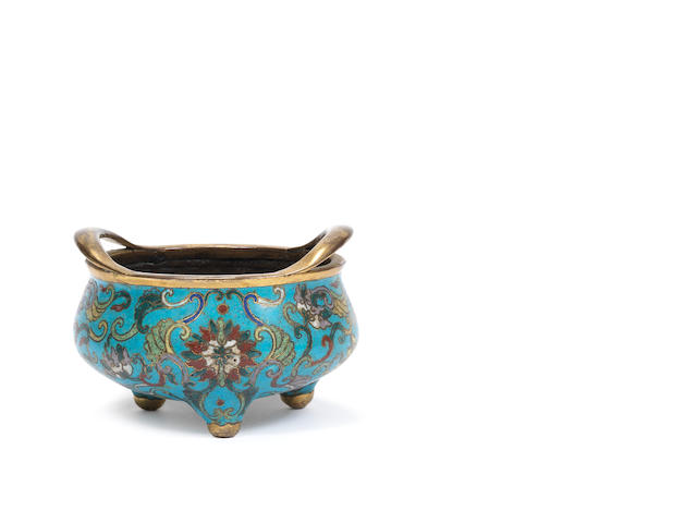 A cloisonné enamel tripod two-handled bowl 18th century