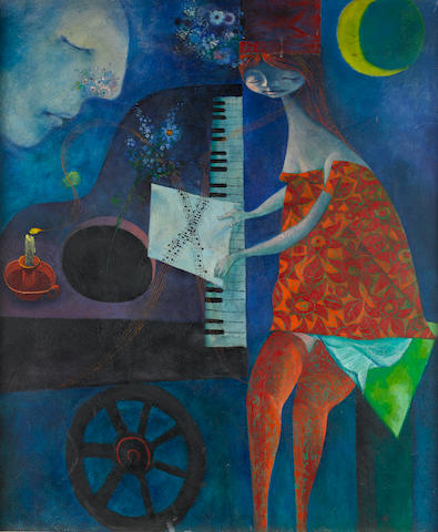 Colin Middleton R.H.A. (Irish, 1910-1983) The Piano Player 91.5 x 76.2 cm. (36 x 30 in.)