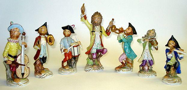 A collection of Meissen style monkey band figures, probably German Late 19th/early 20th Century