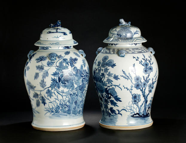 A pair of Chinese blue and white porcelain jars and covers