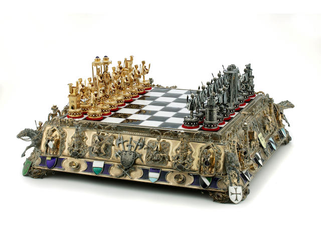An Heraldic exhibition chess set in European silver and silver plate