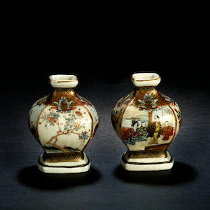 A pair of miniature satsuma vases Meiji period