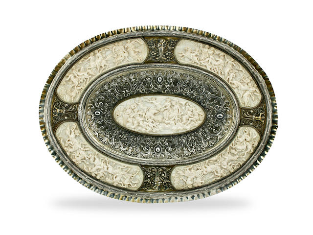 A late 19th century German ivory and silver gilt mounted oval tray by Georg Roth of Hanau, Augsburg marks  (2)