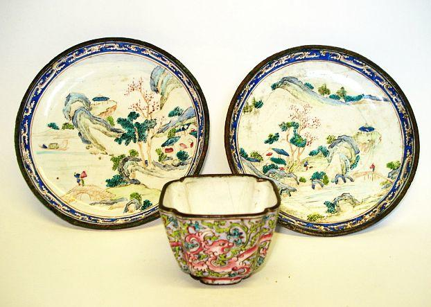 A small pair of Canton enamel famille rose dishes 18th Century