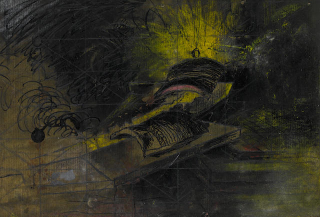 Graham Sutherland O.M. (British, 1903-1980) Tapping a blast furnace: flow of molten iron 15.3 x 22 cm. (6 x 8 3/4 in.) (unframed)