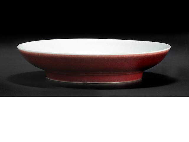 A Chinese liver red saucer dish 18th century