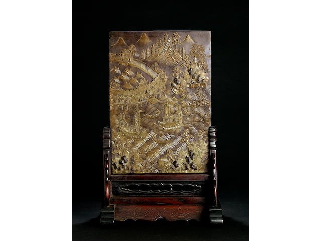 A Chinese Duan stone carved screen in a rosewood stand 19th century