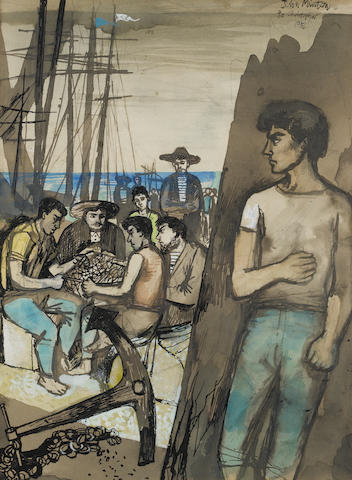 John Minton (British, 1917-1957) Sailors at a quay 31.8 x 23.7 cm. (12 1/2 x 9 1/4 in.)