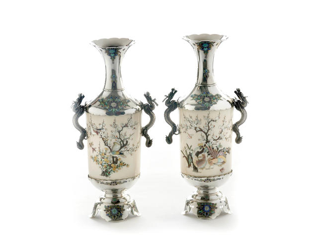 A fine pair of Japanese Shibiyama silver, ivory and enameled vases Meiji period
