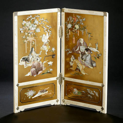 A Japanese shibayama, lacquer and ivory two fold screen Meiji period, signed Masahisa