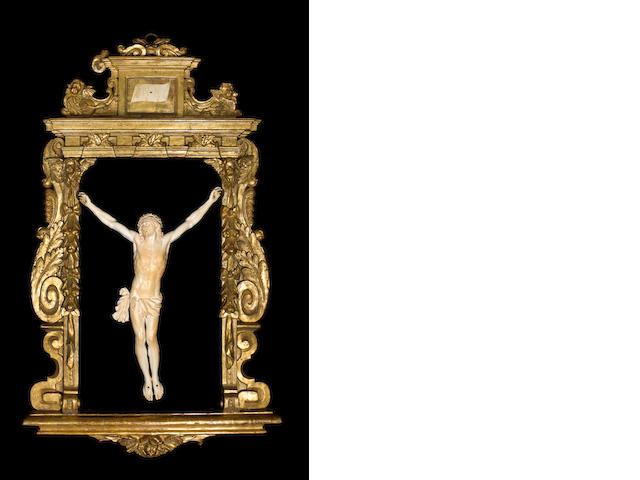 A large and important late 18th / early 19th century ivory Corpus Christiin a Baroque giltwood frame