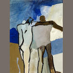 Keith Vaughan, Two Wandering Figures, gouache