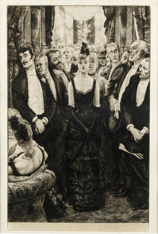 James Jacques Joseph Tissot (French, 1836-1902) La Plus Jolie Femme de Paris Etching and drypoint, 1885, on thick cream laid, signed in pencil, from an edition of approximately 500, 400 x 254mm (15 3/4 x 10in)(PL)