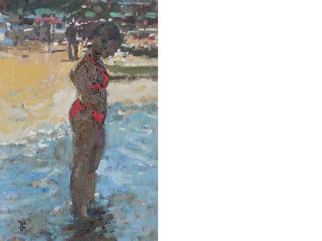 Thomas John Coates (British, born 1941) Girl paddling