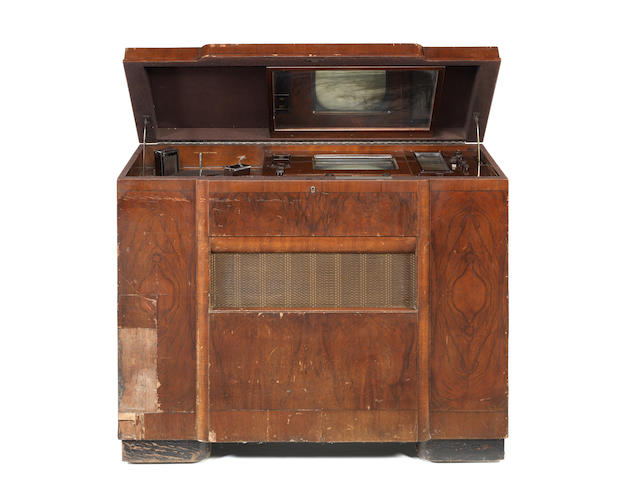 A Marconiphone type 703 cabinet console mirror-lid television receiver, Held at EMI Hayes by design development officer Mr. Agate, ordered through Harrods in late 1936, released to purchaser in May 1937,