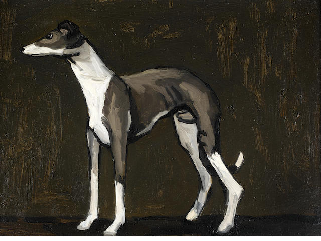 Sir Kyffin Williams R.A. (British, 1918-2006) The Young Greyhound 28 x 38 cm. (11 x 15 in.)