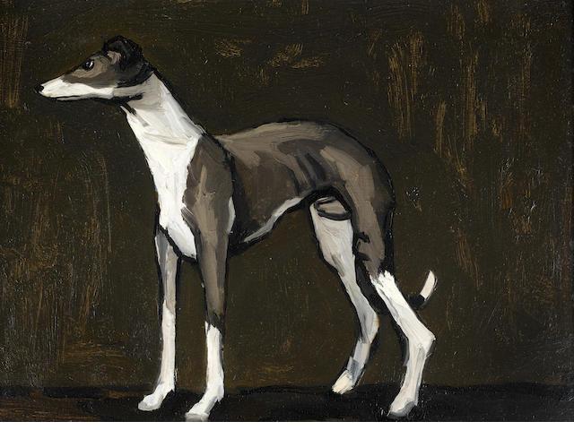 Sir Kyffin Williams R.A. (British, 1918-2006) The Young Greyhound 28 x 38 cm. (11 x 15 in.)