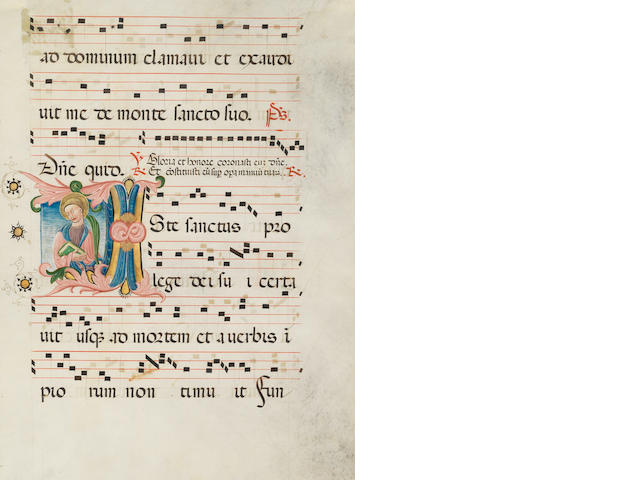 ILLUMINATED MANUSCRIPT Two leaves from an Antiphoner, each with a large historiated initial [a Martyr Saint, and the Virgin Mary], [Lombardy, late 15th] (2)