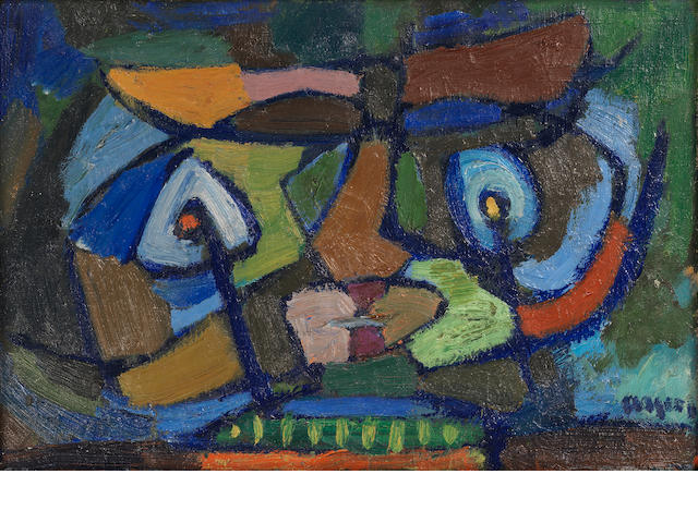 Asger Jorn (Danish, 1914-1973) Untitled 1941  signed oil on canvas 26 by 39 cm. 10 3/16 by 15 1/8 in. This work was executed in 1941.