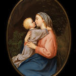 A 19th century painted porcelain plaque with frame, Madonna and Child