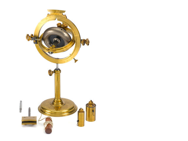 An exceptionally large brass bench gyroscope,  English,  third quarter 19th century,