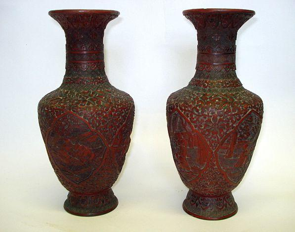 A pair of cinnabar lacquer vases  19th Century