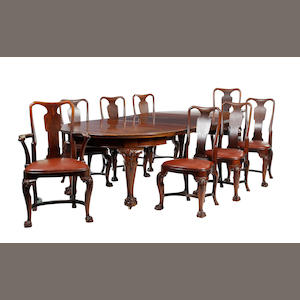 A late Victorian mahogany dining suite The chairs stamped 'Goodall, Lamb & Heighway, Manchester'