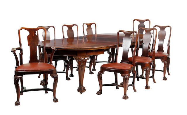 A late Victorian mahogany dining suite The chairs stamped 'Goodall, Lamb & Heighway, Manchester'; the wining mechanism with plaque for Joseph Fitter of Birmingham