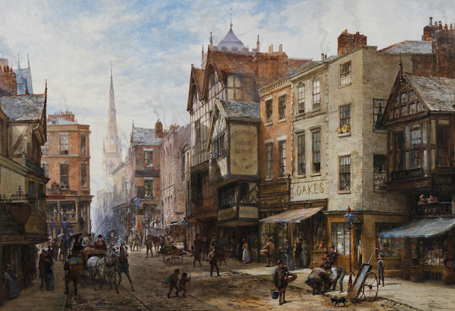 Louise J. Rayner (British, 1832-1924) 'Chester' The Cross, looking towards Watergate Street