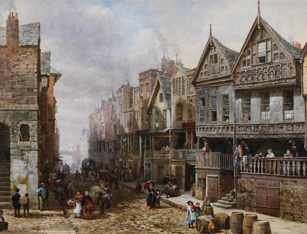 Louise J. Rayner (British, 1832-1924) 'Watergate Street, Chester, looking east towards the Cross. The Eastgate in the distance and Bishop Lloyd's House on the right'