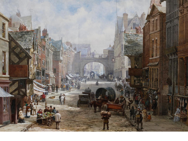 Louise J. Rayner (British, 1832-1924) 'Eastgate Street, Chester, from east of the Cross looking towards the Eastgate. The Grosvenor Hotel on the right'