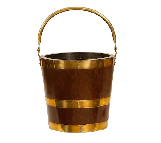 A 19th century coppered peat bucket