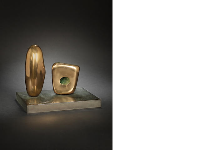 Dame Barbara Hepworth (British, 1903-1975) Two Forms 23 cm. (9 in.) high (including base)
