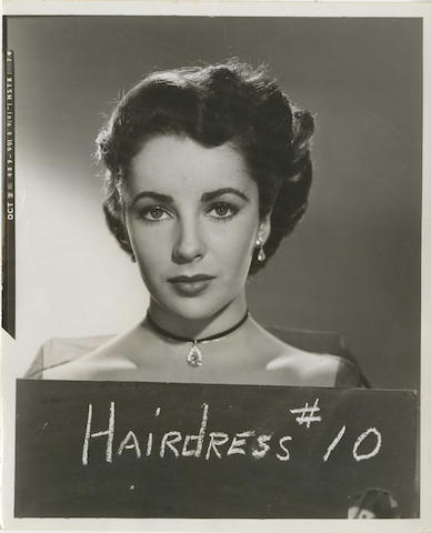 A collection of hair continuity images, featuring Elizabeth Taylor, Deborah Kerr and Ingrid Bergman, two featuring Elizabeth Taylor, believed to be from Raintree County, 1957,