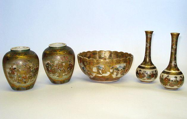A collection of Japanese Satsuma pottery  Meiji and Taishō period