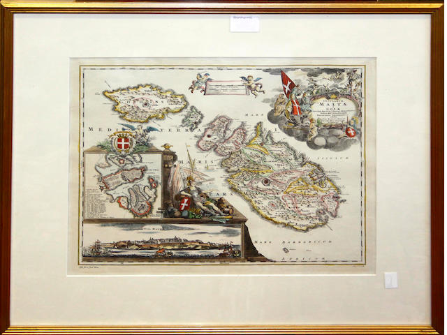 Two coloured engravings - Italian scenes, 17 x 27cm, a J Harrison had coloured map of Wiltshire, a late coloured map of Malta and Gozo, 31 x 37cm, two black and white engravings views of Malta, three lithographic framed studies after George Morland and a framed group of coloured engravings botanical studies.