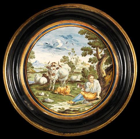 A Castelli maiolica circular plaque circa 1730