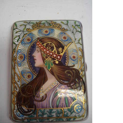 Art Nouveau enamel cigarette case