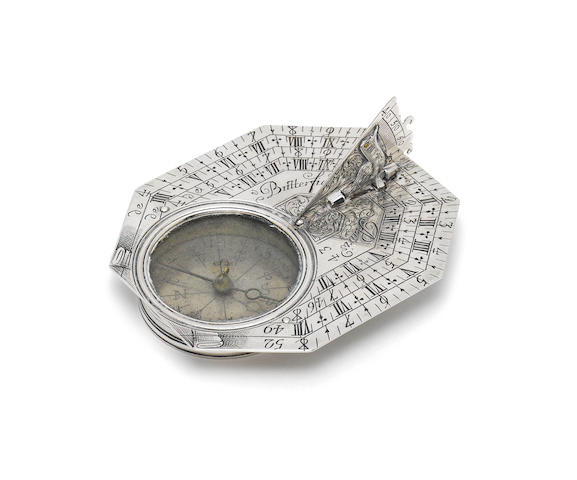 A silver Butterfield dial,  French,  early 18th century,