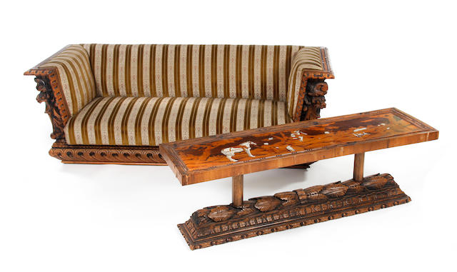 A 19th Century Italian carved walnut and inlaid settee, with matching low table, probably converted from a cassone (2)