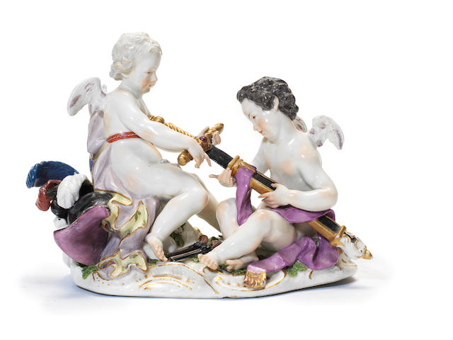 A Meissen group of putti allegorical of War, circa 1755-60