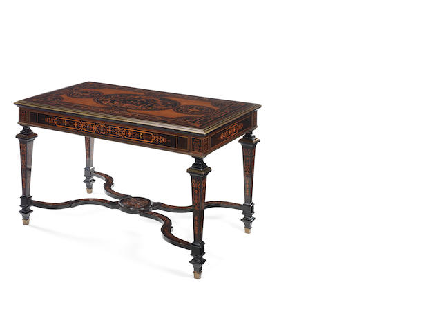 A French late 19th century, brass-mounted fruitwood, mahogany, ebony and ebonised marquetry centre-table