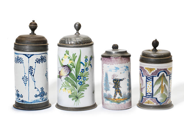 Four German faience pewter-mounted tankards second half 18th century