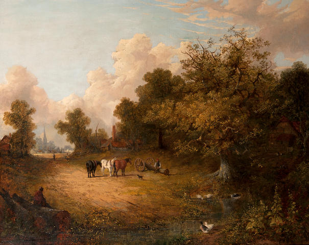 Joseph Paul (British, 1804-1887) Logging team resting beside a for within an extensive landscape, Norwich Cathedral and Castle beyond