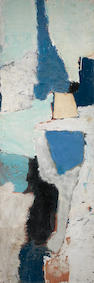 Gillian Ayres O.B.E., R.A. (British, born 1930) Vertical Blues 122 x 41.5 cm. (48 x 16 1/4 in.)  (unframed)